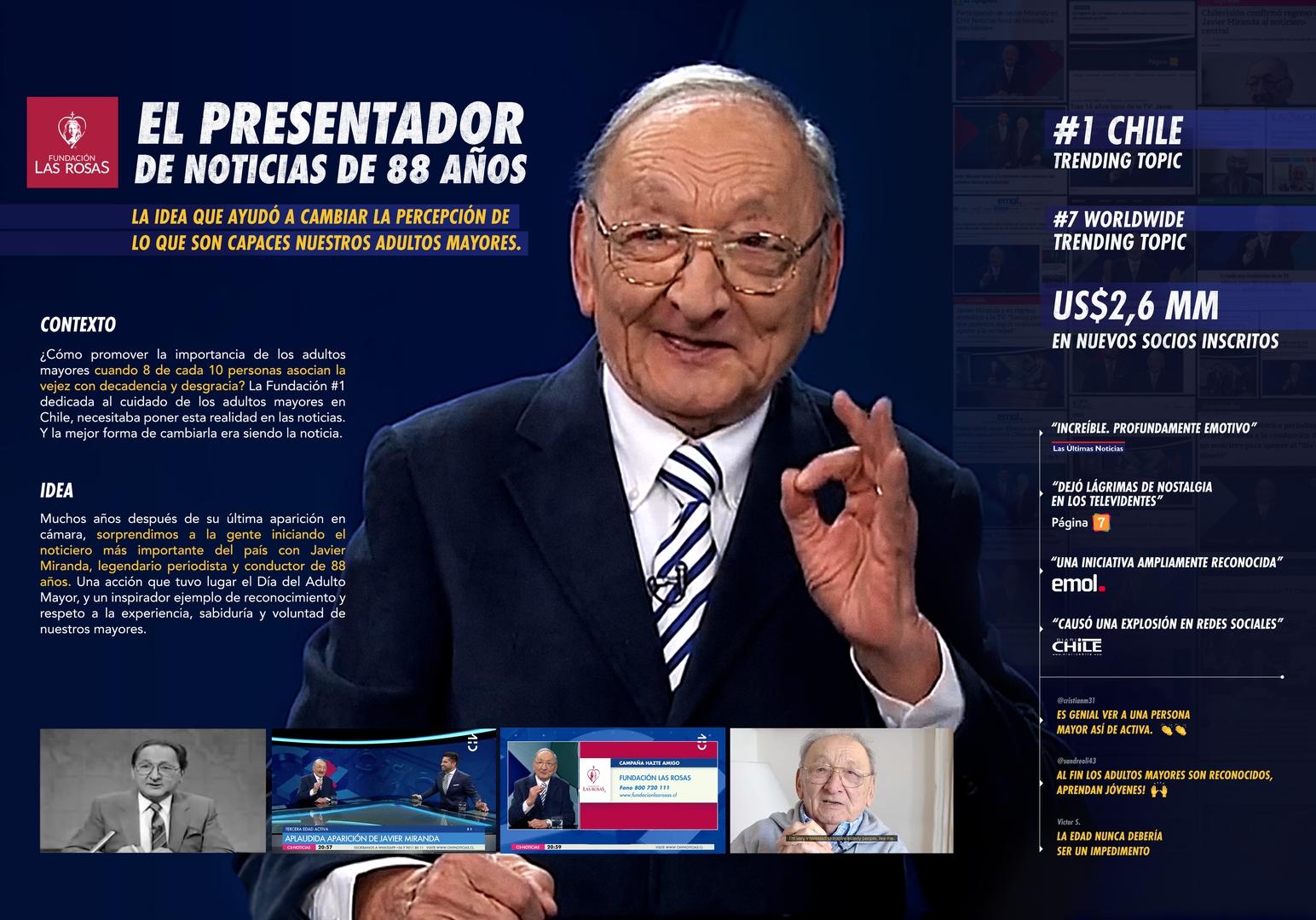 El presentador de noticias de 88 años